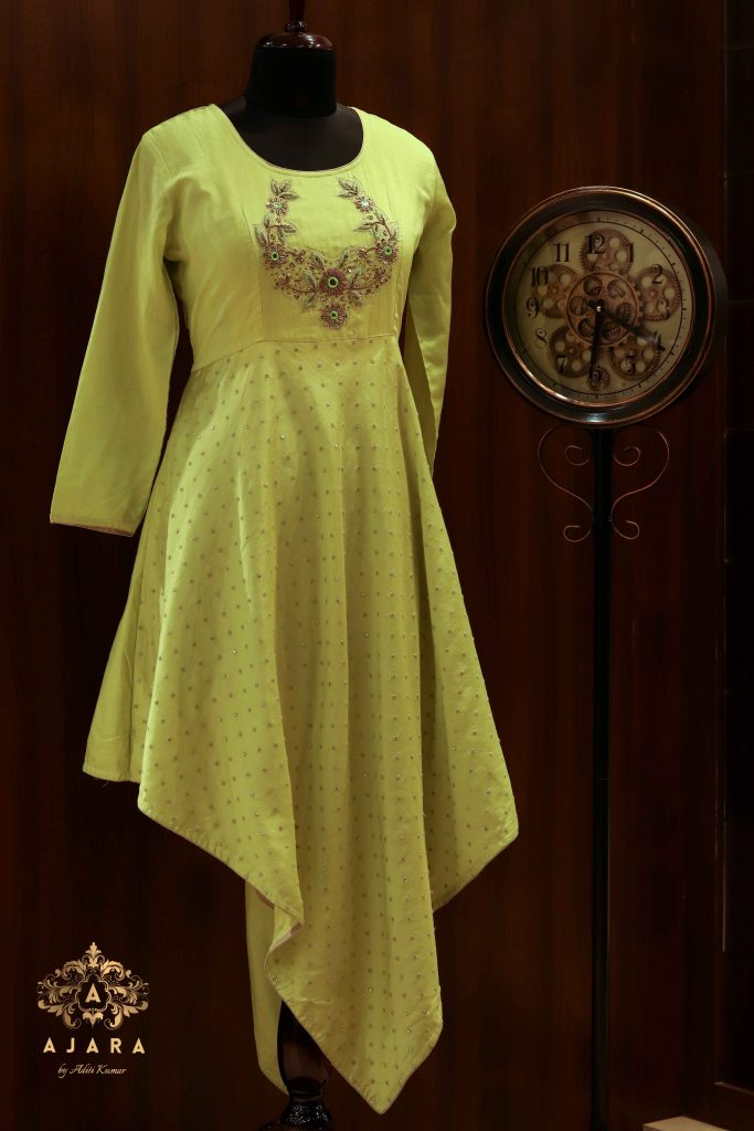 Ajara contemporary cut lemon yellow with embroidery work party wear kurta )img