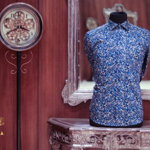 Ajara men cotton ditsy floral blue slim fit shirt)img