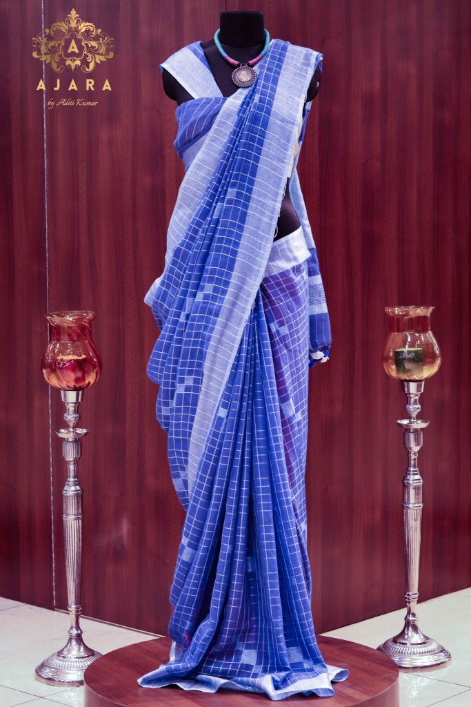 Ajara women blue stripped solid saree)img