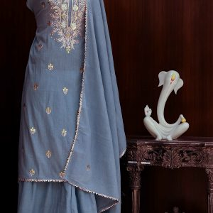 Ajara women cotton sapphire sharara with gota patti kurta