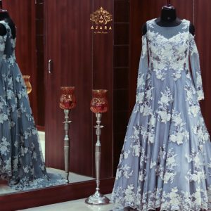 Ajara women net material with hand work grey gown)img