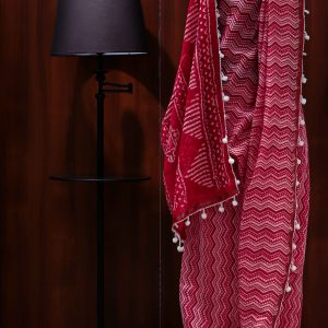 Ajara women red chanderi cotton saree)img