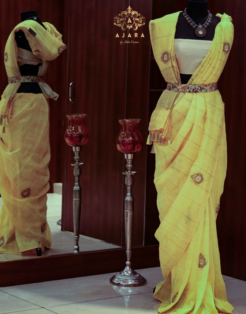 Women yellow lilon cotton saree)img